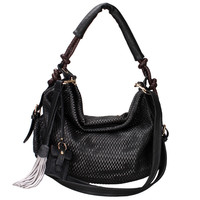 Women's Fashion Hobo Bag w/ Mesh Exterior & Tassel Accent - Black Color: Black