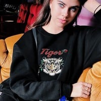 Tops Winter Strong Character Alphabet Cartoons Embroidery Long Sleeve Hoodies [50106662927]