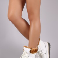 Quilted Nylon Faux Fur Cuff Lace Up Snow Boots