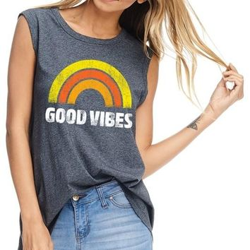 Good Vibes Sleeveless Graphic Top - Charcoal