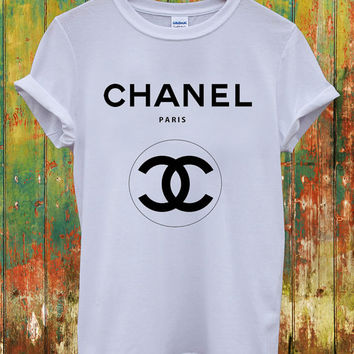 Chanel Double Logo Dope Swag Geek Yves Saint Laurent Louis Vuitton Versace Celine Paris Hippie Comme Fuckdown Men Women Unisex Top T-Shirt