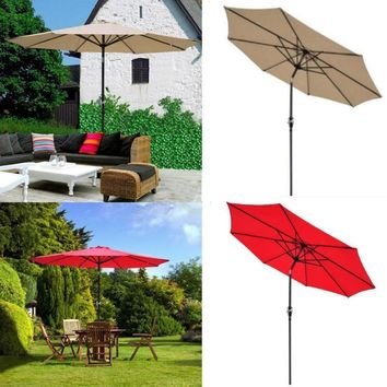 Patio Umbrella 9' Aluminum Patio Outdoor Market Umbrella Tilt W/ Crank Sun Shade Red