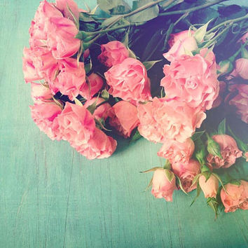Garden Party . roses . pink aqua teal mint green . summer wedding . flower photography . spring home decor . rustic vintage wall art