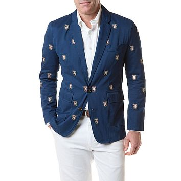Spinnaker Blazer With Embroidered Bushwood Crest in Atlantic by Castaway Clothing