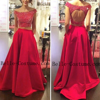 Two Piece Prom Dress, O-Neck Beading Prom Dresses, Backless Prom Dress, Red Evening Dresses