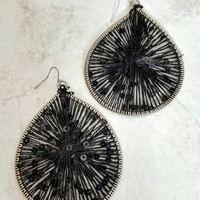 Vintage Black Thread Weaved TeardropHoop Earrings -Boho Chic / Art Deco / Retro / Unique / Exotic / Stylish / Statement / Stunning / Ethnic