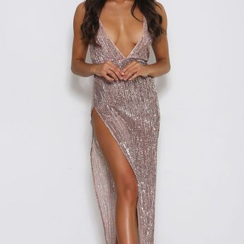 First Look Champagne Sequin Sleeveless Spaghetti Strap V Neck High Cut Maxi Dress