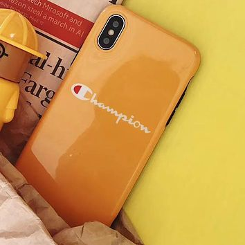 Champion Tide brand all-inclusive glossy soft shell iphone Xs max phone case yellow