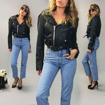Vintage 1980's CROPPED Black Soft Buttery Biker Moto Jacket || Size Small Medium