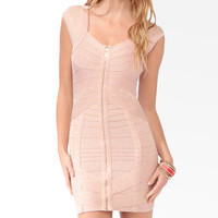 Zippered Mini Bandage Dress