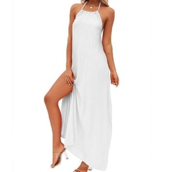 Women Summer Fashion Cotton Boho High Open Fork Evening Party Long Maxi Beach Dress Backless Sexy Party Dresses Solid Color Long Strappy