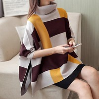 Womens Plaid Sweater Cape with Yellow Stripes