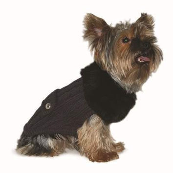Luxy Faux Fur Dog Sweater - Grey, by Dogo Pet Fashions