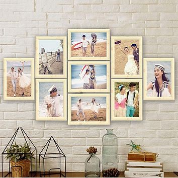 9Pcs/Lot Photo Frame Set Picture Frame Family Collage Photo Frames Wall Hanging Photo Picture Holder Display Home Wall Decor