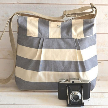 Water Proof -Cross body bag / Diaper bag STOCKHOLM Gray  and Ecru nautical Stripes Pleated French Messenger bag - 12 Pockets