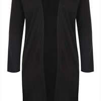 Black Knitted Long Length Cardigan plus size 14,16,18,20,22,24,26,28