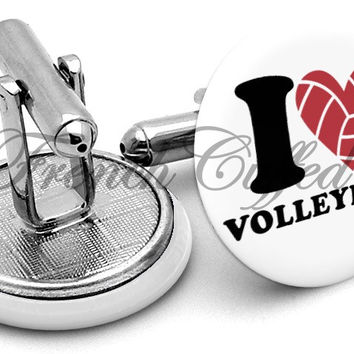 I Love Volleyball Cufflinks