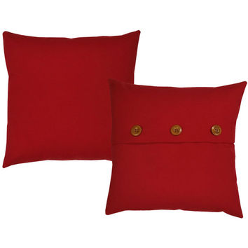 Set of 2 Red Cotton Canvas Pillow Covers and or Cushions - Available in 14x14, 16x16, 18x18 and 20x20 inches