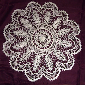 Extraordinary large crocheted tablecloth with unique pattern