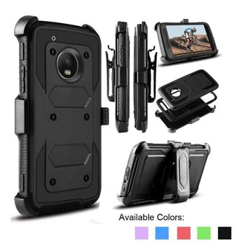 Shockproof Hybrid Defender Impact Protective Phone Cover with Belt Clip and Kickstand for Motorol Moto G5S Plus/MOTO G5 PLUS/Z2