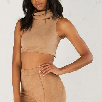 Suede Mock Neck Top in Nude
