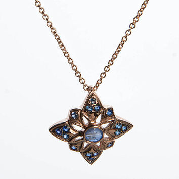 Gemstone Pendant necklace with Sapphire - Vintage Style Rhombus Pendant - Chain with Pendant in 14K Rose Gold - Pendant Rose Gold Necklace