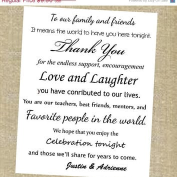 Wedding Thank You 8 X 10 Sign To Our Friends And Family
