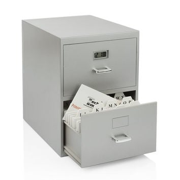 Miniature File Cabinet for Business Cards with Built-in Digital Clock PI-9617...
