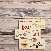 Coffe Art...Coffee lovers..Coffee first..upcycled spoon on pallet wood kitchen sign..Sweet kitchen..foodie gift..foodie kitchen.coffe shop
