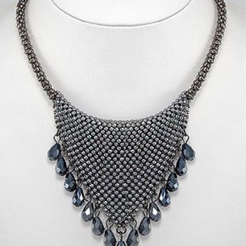 Zinc Black/Gray Seed Bead Glass and Crystal Statement Necklace