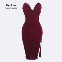 2015 New Fashion Bandage Dress Plus Size S M L Women Sexy Off The Shoulder Strapless Bodycon Mini Dress Casual Velvet Dress