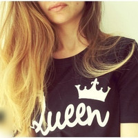 Summer Fashion  Letter Printed Punk Couple T Shirts, Crown Cotton Hip-pop Style Street Unisex Top Tees
