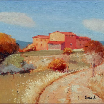Italian painting Tuscany landscape country house original oil on canvas of Leonardo Casali Italy Italia Toscana Paesaggio dipinto