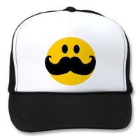 Mustache Smiley (Customizable background color) Trucker Hats from Zazzle.com