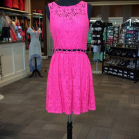 Lace Dress Cut Out Midriff