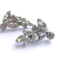 Weiss Rhinestone Bridal Earrings Art Deco Vintage Brides Wedding Party Jewelry