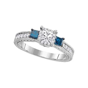 14k White Gold Women's 3-stone Blue Color Enhanced Diamond Wedding Bridal Engagement Ring 1.00 Cttw - FREE Shipping (US/CAN)