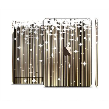 The Gold & White Shimmer Strips Full Body Skin Set for the Apple iPad Mini 3