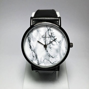 Marble Watch, Mens Watch, Women Watches, Minimalist, Leather Strap, Print, Jewelry, Modern, Gift, Simple, Silicone, Customize, Freeforme