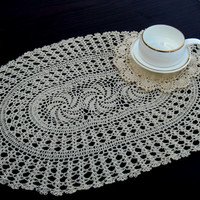 """Set 2 PLACEMATS - HANDMADE CROCHET - Chakra Design - Wedding table decor - Crochet table mat -White and natural Color - 12 x 18 """" Inches"""