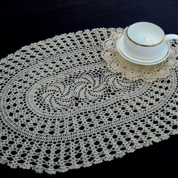 "Set 2 PLACEMATS - HANDMADE CROCHET - Chakra Design - Wedding table decor - Crochet table mat -White and natural Color - 12 x 18 "" Inches"