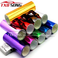 Silver Red Gold Greeen blue purple Chrome Air Bubble Free Mirror Vinyl Wrap Film Sticker Sheet emblem Car Bike Motor Body Cover