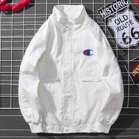 Champion tide brand men's and women's wild retro loose tooling jacket White