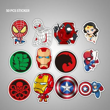 50 Pcs Marvel Anime Super Hero Spiderman Ironman Stickers Toy Waterproof Sticker Car Skateboard Suitcase Laptop Refrigerator
