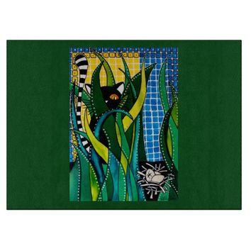 Hunter in Camouflage Whimsical Cat Art Cutting Board