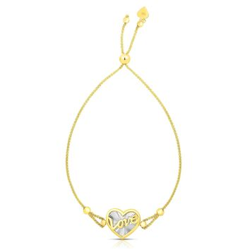 """14k Yellow And White Gold Heart Love Charm Adjustable Bracelet, 9.25"""""""