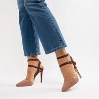 New Look Wide Fit Pointed Strappy SnakeStiletto at asos.com