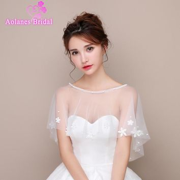 2017 New  Summer Off White Ivory Tulle with Sequins Appliques Scoop Neck Bridal Wedding Bolero Jacket Wedding Shrug Cape Shawl