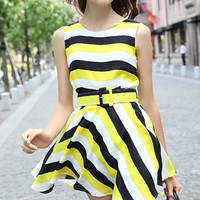 Yellow and White Stripe Sleeveless High Waist Mini Dress