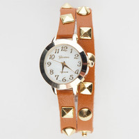 Pyramid Stud Wrap Watch Cognac One Size For Women 21983940901